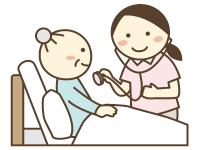 訪問看護で看護師が介護者の診察をしているイラスト