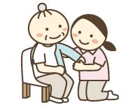 介助者が介護を必要としている人の着替えを手伝っているイラスト