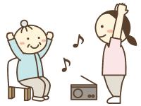 リハビリテーションのイラスト。音楽に合わせて体を動かしている。
