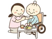 食事の介助のイラスト。車いすの高齢者にご飯を食べさせている
